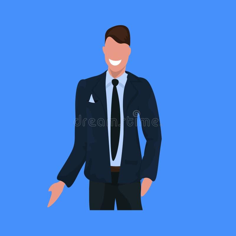 愉快的商人在衣服身分姿势商人办公室工作者男性卡通人物画象平的蓝色背景中 库存例证