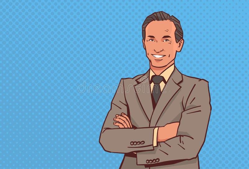 愉快的商人折叠了手摆在商人微笑男性卡通人物画象流行艺术样式 库存例证
