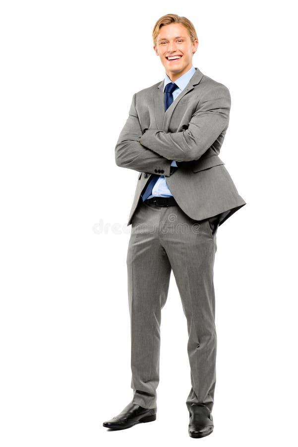 愉快的商人胳膊在白色背景折叠了隔绝 免版税库存照片