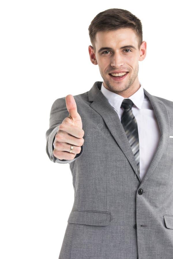 愉快的商人赞许标志 免版税库存图片