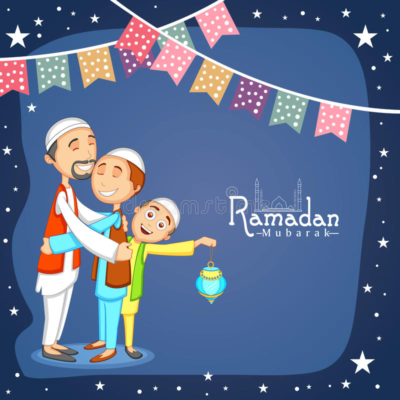 愉快的回教人的圣洁月,赖买丹月Kareem庆祝 皇族释放例证