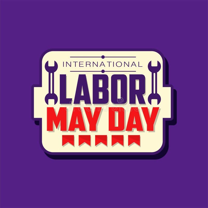 愉快的国际劳动节象征 5月假日用旗子和英寸板钳装饰的庆祝贴纸 平面 皇族释放例证