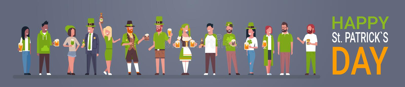 愉快的圣帕特里克天党海报,绿色衣裳的喝啤酒水平的横幅的人 库存例证