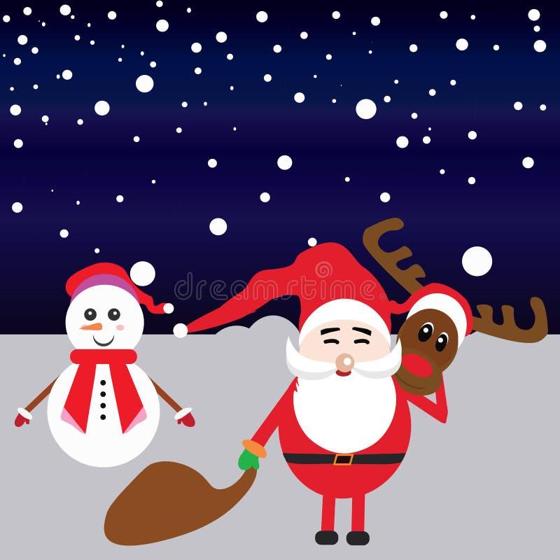 愉快的圣诞老人和雪人例证 库存图片