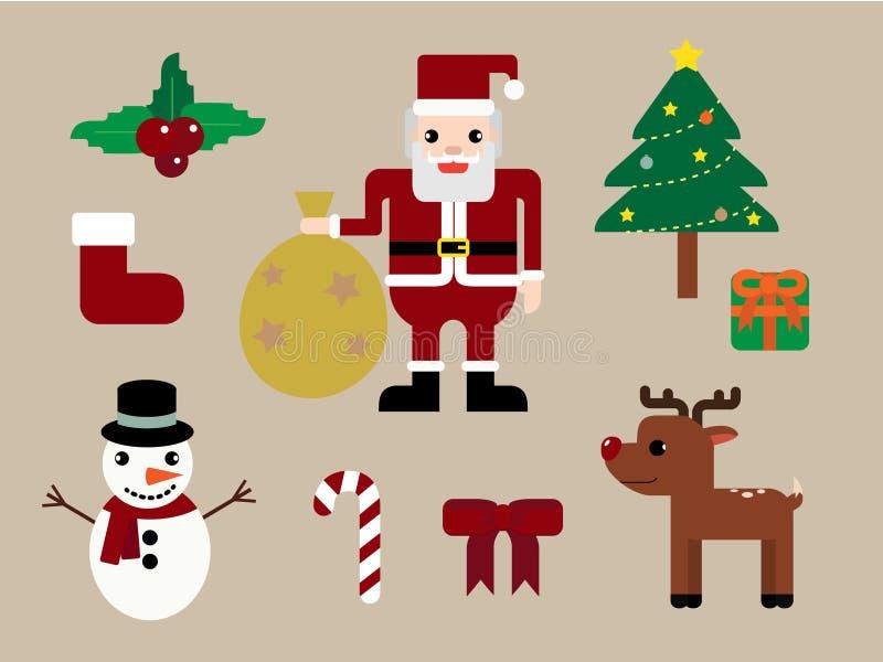 愉快的圣诞节圣诞老人,鹿和材料集合 库存例证