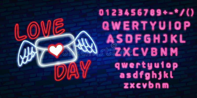 愉快的在黑暗的砖墙背景的情人节氖发光的欢乐标志 爱您在心脏形状的文本 节假日 库存例证