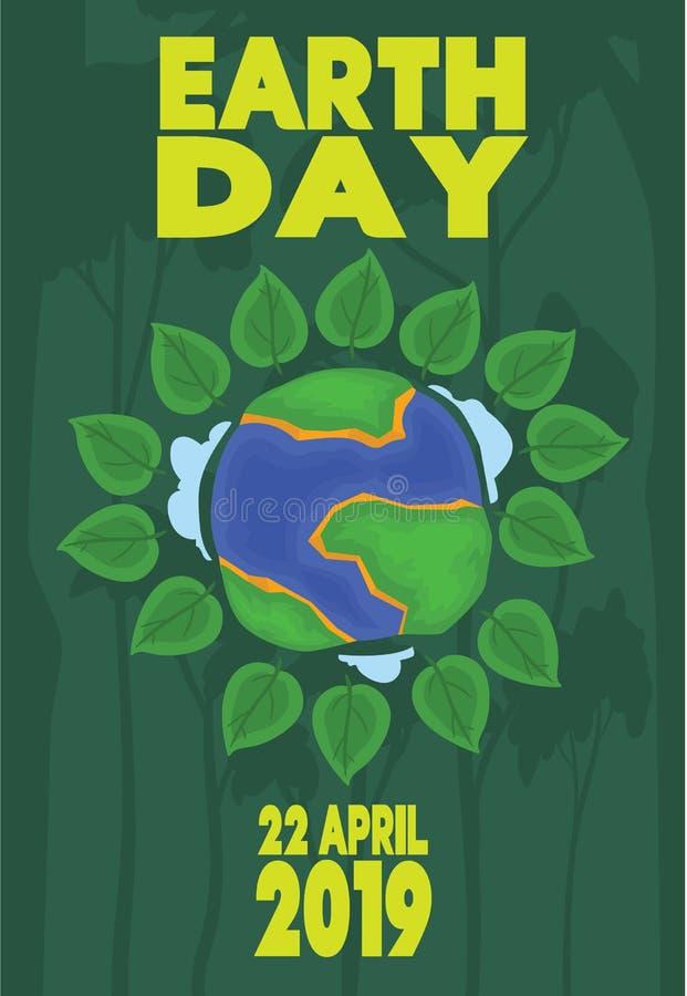 愉快的地球日贺卡4月22日除地球外的 免版税库存图片