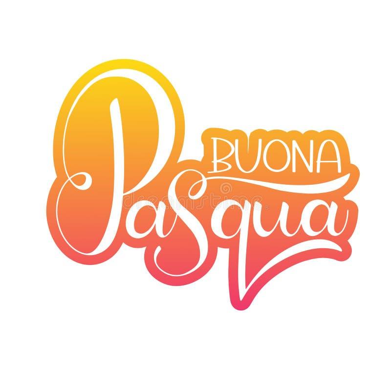 愉快的复活节五颜六色的字法用意大利语 库存例证