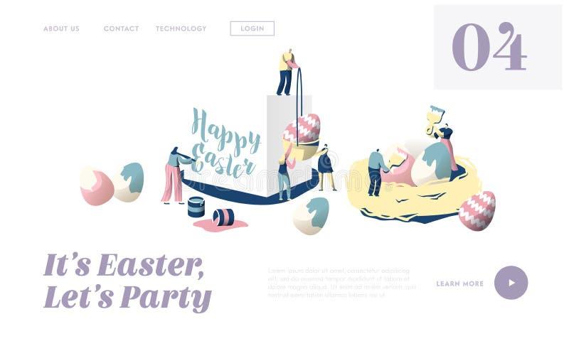 愉快的复活节传统宗教春天假日概念着陆页的准备 逗人喜爱的人字符装饰鸡蛋 皇族释放例证