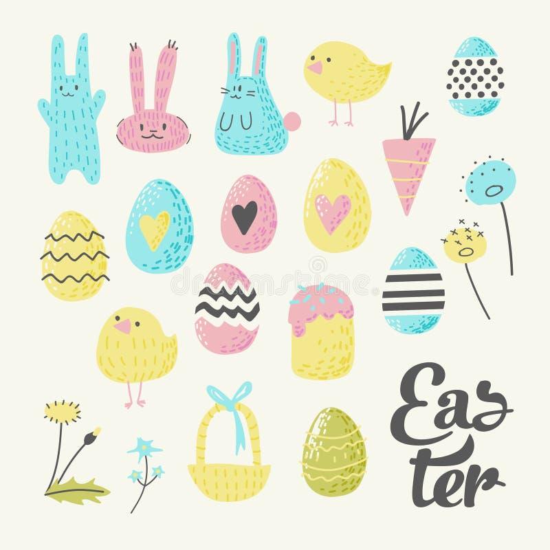 愉快的复活节元素集用鸡蛋、兔宝宝、小鸡和花 假日装饰贺卡的春天设计 皇族释放例证