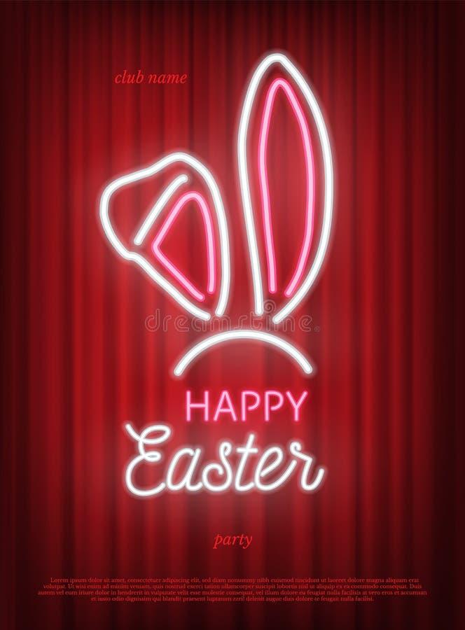 愉快的复活节党霓虹模板 在红色帷幕背景隔绝的桃红色和白霓虹兔子耳朵 ?? 皇族释放例证
