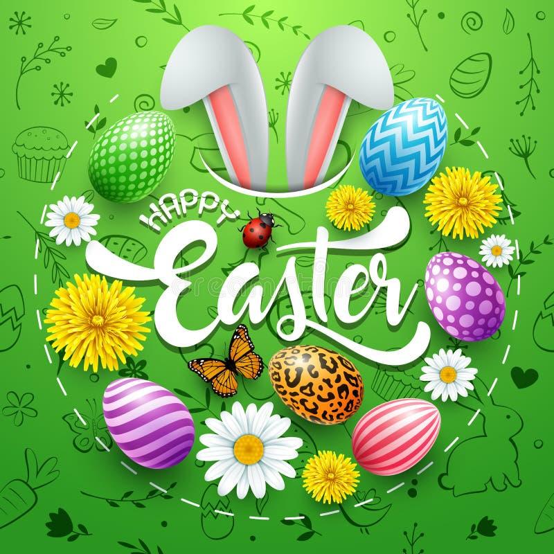 愉快的复活节卡片用色的鸡蛋、花、兔宝宝耳朵、昆虫和逗人喜爱的乱画在圆形在绿色背景 向量例证