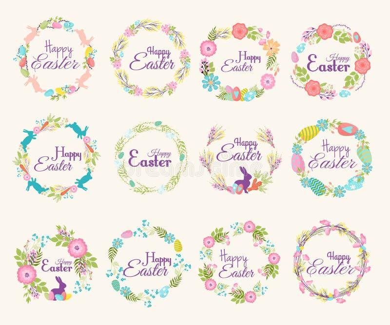 愉快的复活节商标行情文本花分支和春天例证传统装饰元素手拉的徽章 库存例证