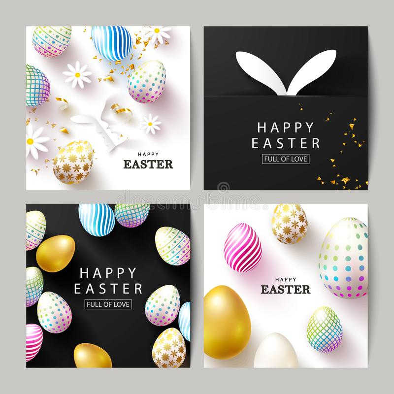 愉快的复活节套卡片 美好的背景用五颜六色的鸡蛋、纸兔宝宝、春黄菊和蛇纹石 ?? 库存例证