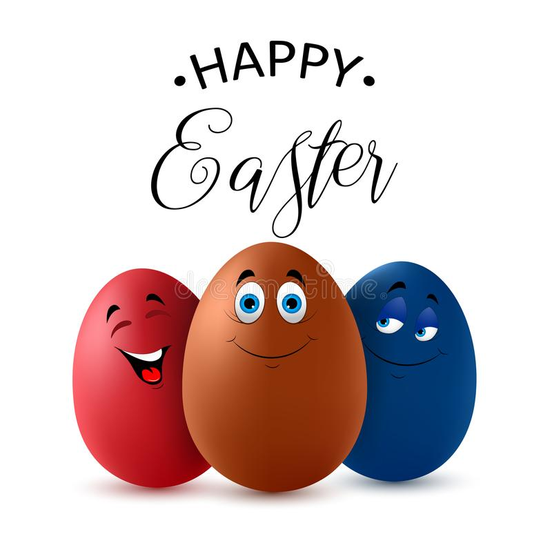 愉快的复活节字法用逗人喜爱的五颜六色的鸡蛋 滑稽的复活节彩蛋 背景查出的白色 向量 皇族释放例证