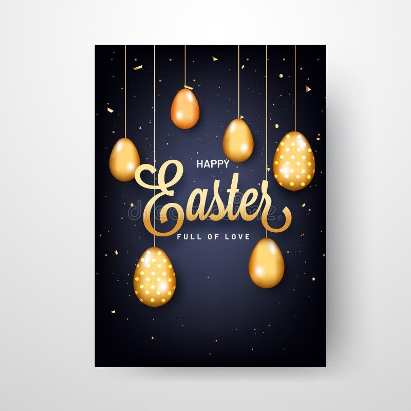 愉快的复活节庆祝模板或贺卡设计 库存例证