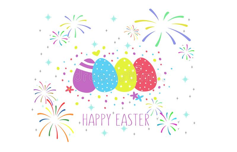愉快的复活节文本的传染媒介例证模板邀请的,贺卡 在五颜六色的鸡蛋背景,firew的文本 皇族释放例证