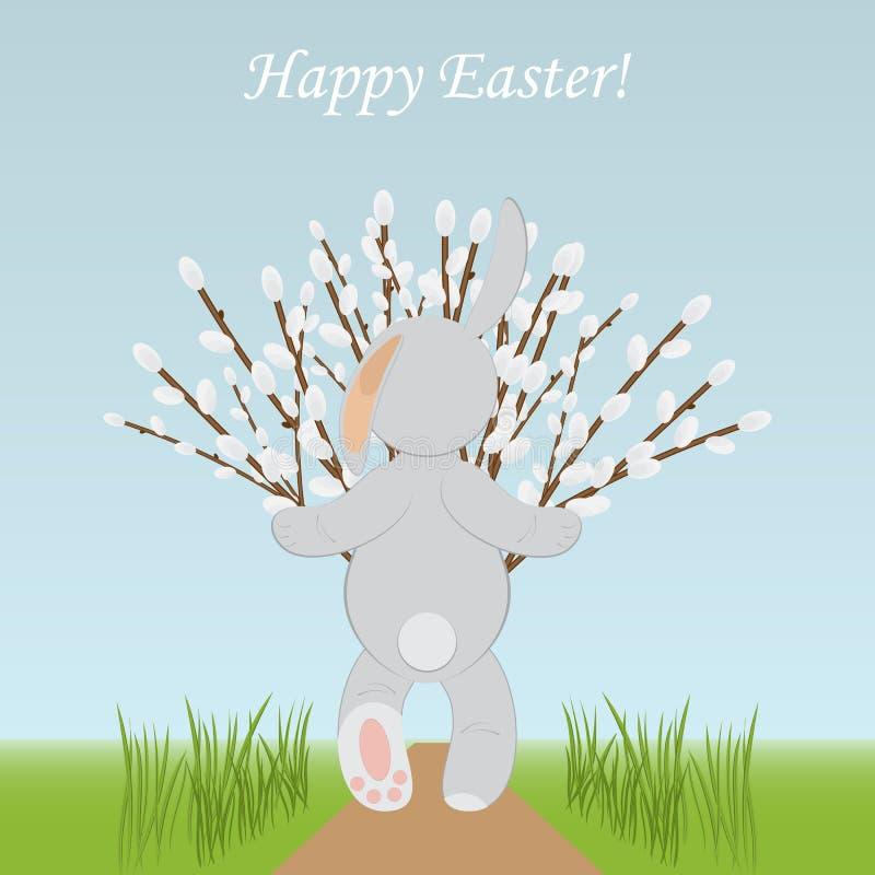 愉快的复活节春天卡片模板 与willo花束的兔子  向量例证