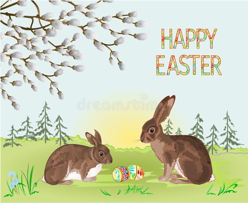 愉快的复活节春天风景森林兔子和野兔和复活节彩蛋在草与花葡萄酒传染媒介例证editabl 库存例证