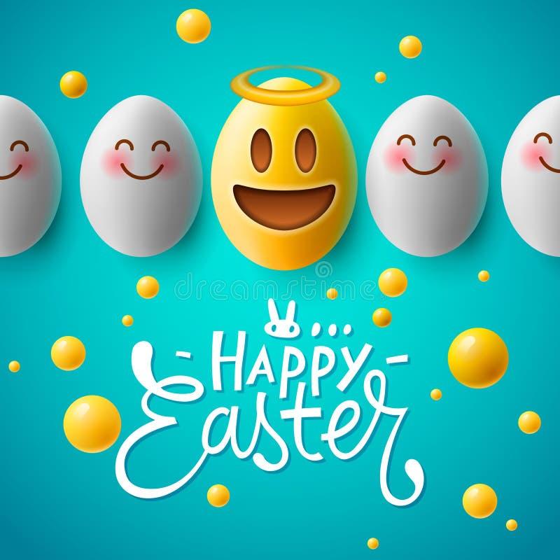 愉快的复活节海报,与微笑的emoji面孔,传染媒介的滑稽的复活节彩蛋 向量例证