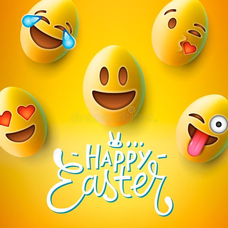 愉快的复活节海报,与逗人喜爱的微笑的emoji面孔,传染媒介的复活节彩蛋 向量例证
