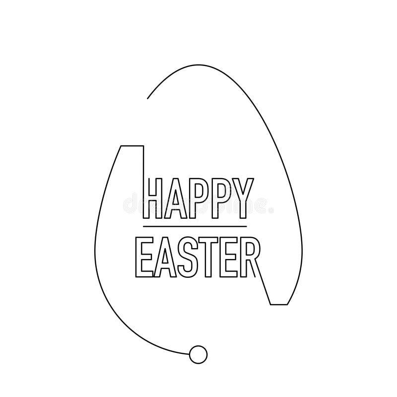 愉快的复活节现代例证稀薄的线鸡蛋 向量例证