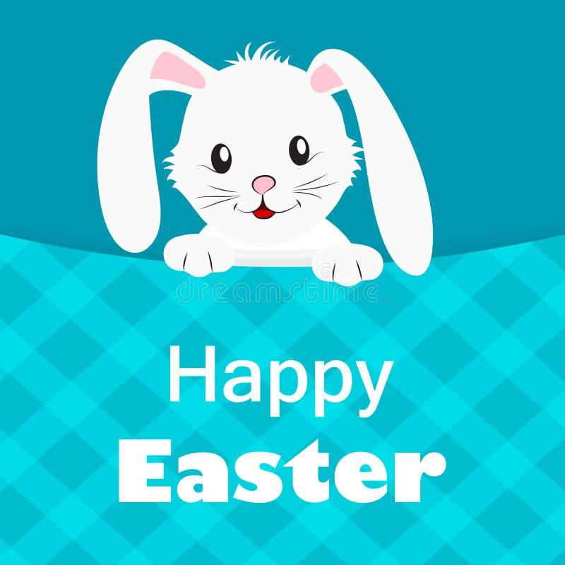 愉快的复活节蓝色贺卡用逗人喜爱的白色兔子 向量例证