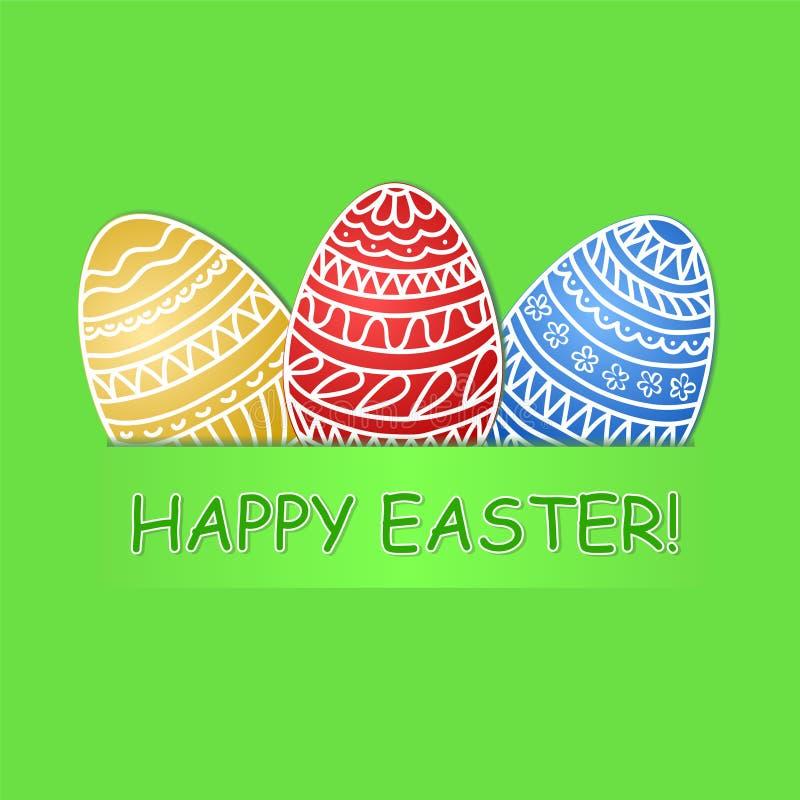 愉快的复活节贺卡用在绿草后面的色的鸡蛋 库存例证