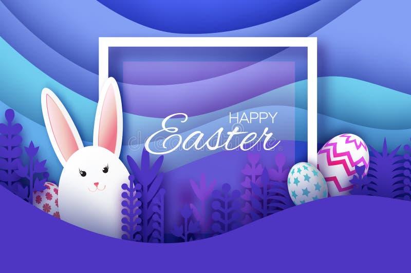 愉快的复活节贺卡用纸被切的小兔,春天花 鸡蛋 Origami分层了堆积风景 方形框架 皇族释放例证