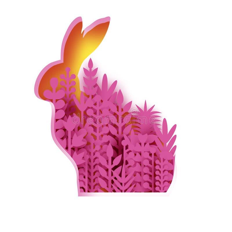 愉快的复活节贺卡用纸被切的小兔,桃红色春天花 Origami黄色兔子形状框架 安排 皇族释放例证