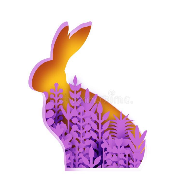 愉快的复活节贺卡用纸被切的小兔,紫罗兰色春天花 Origami黄色兔子形状框架 安排 皇族释放例证