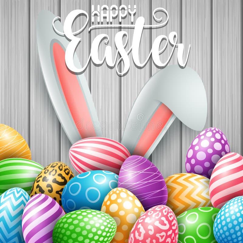 愉快的复活节贺卡用色的鸡蛋、花和兔宝宝耳朵在木墙壁背景 皇族释放例证