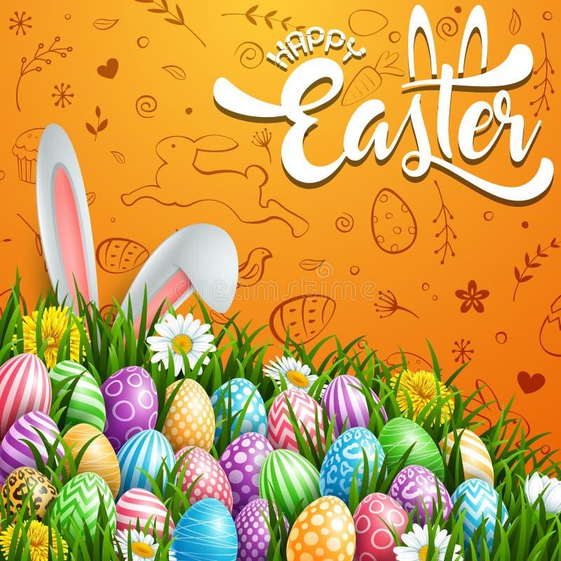 愉快的复活节贺卡用色的鸡蛋、花和兔宝宝耳朵在逗人喜爱的乱画背景 向量例证