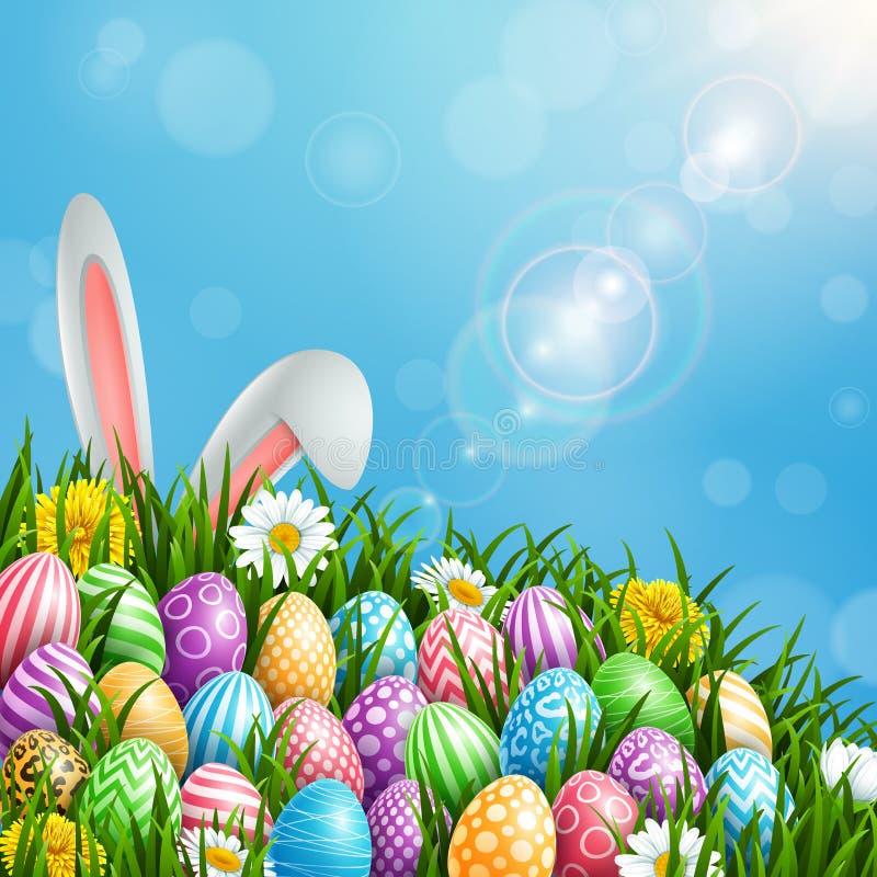 愉快的复活节贺卡用色的鸡蛋、花和兔宝宝耳朵在阳光背景 皇族释放例证