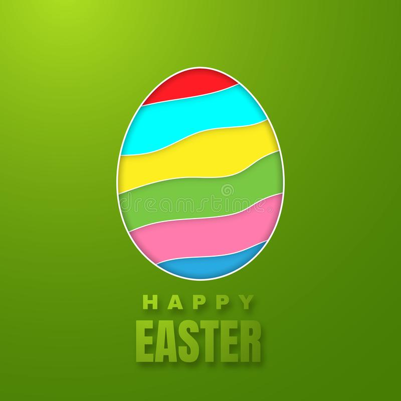 愉快的复活节贺卡用颜色纸在绿色背景的复活节彩蛋 也corel凹道例证向量 库存例证