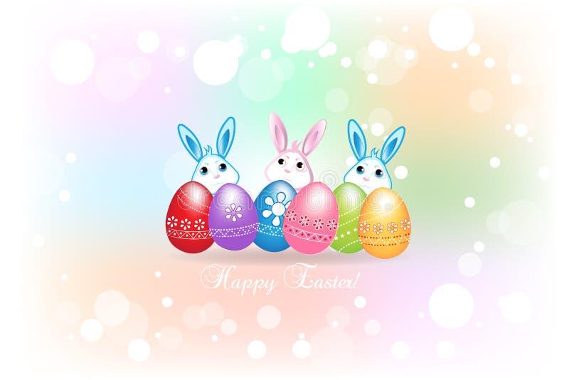 愉快的复活节贺卡用鸡蛋和兔宝宝五颜六色的象商标背景 向量例证