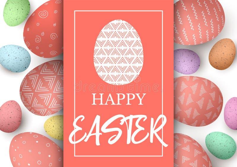 愉快的复活节贺卡 与文本的蛋模板 与珊瑚拷贝空间的五颜六色的复活节彩蛋 抽象简单的装饰品 皇族释放例证