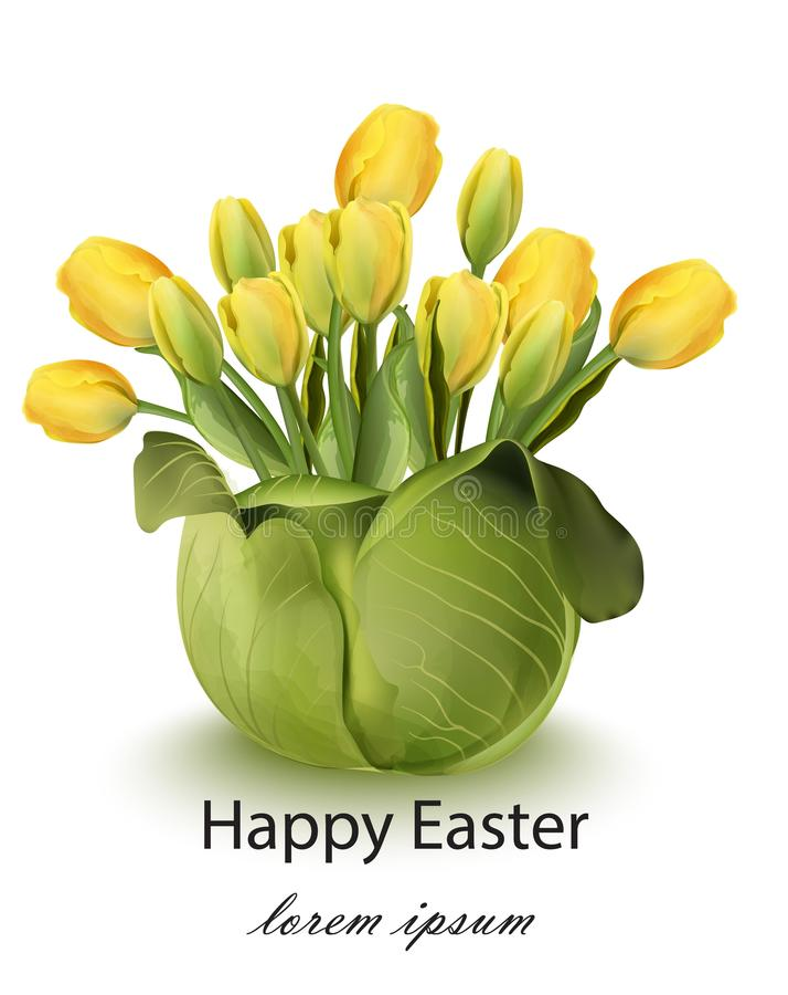 愉快的复活节郁金香花花束卡片 春天花卉秀丽黄色颜色 向量例证