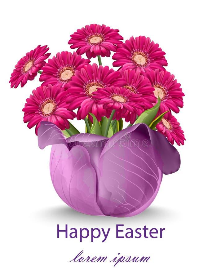 愉快的复活节雏菊花花束卡片 春天花卉秀丽紫红色的颜色 向量例证