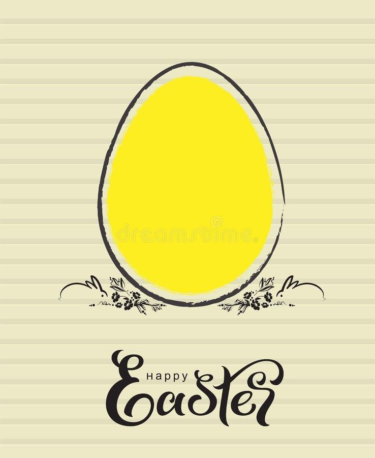 愉快的复活节黄色蛋贺卡和两只兔子 皇族释放例证