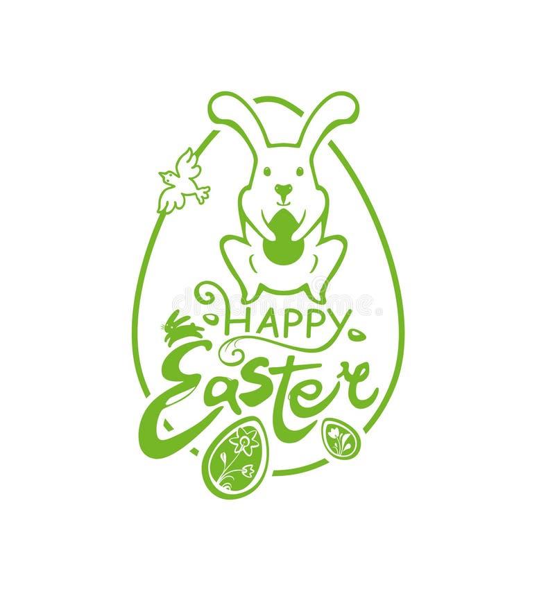 愉快的复活节 与复活节兔子的绿色贴纸用礼物鸡蛋和春天鸟 向量例证