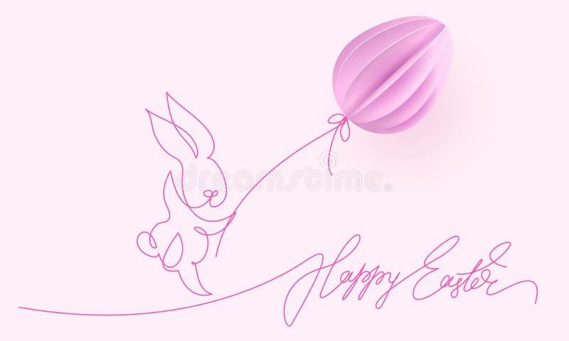 愉快的复活节 与气球的逗人喜爱的兔子 皇族释放例证