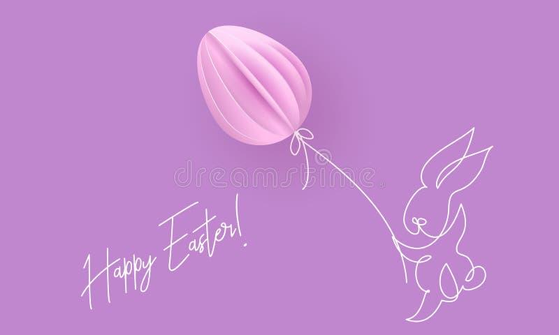 愉快的复活节 与气球的逗人喜爱的兔子 向量例证