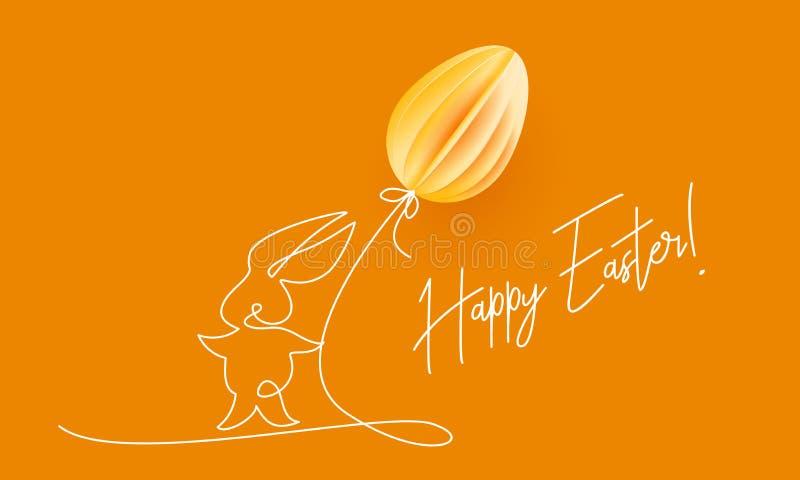 愉快的复活节 与气球的逗人喜爱的兔子 库存例证