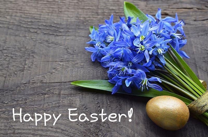 愉快的复活节 与蓝色Scilla海葱的复活节装饰开花,在老木背景的金黄复活节彩蛋 库存照片