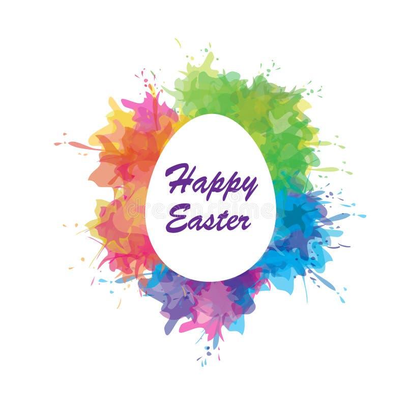 愉快的复活节 例证用复活节彩蛋和绘五颜六色的飞溅 横幅,海报设计 皇族释放例证