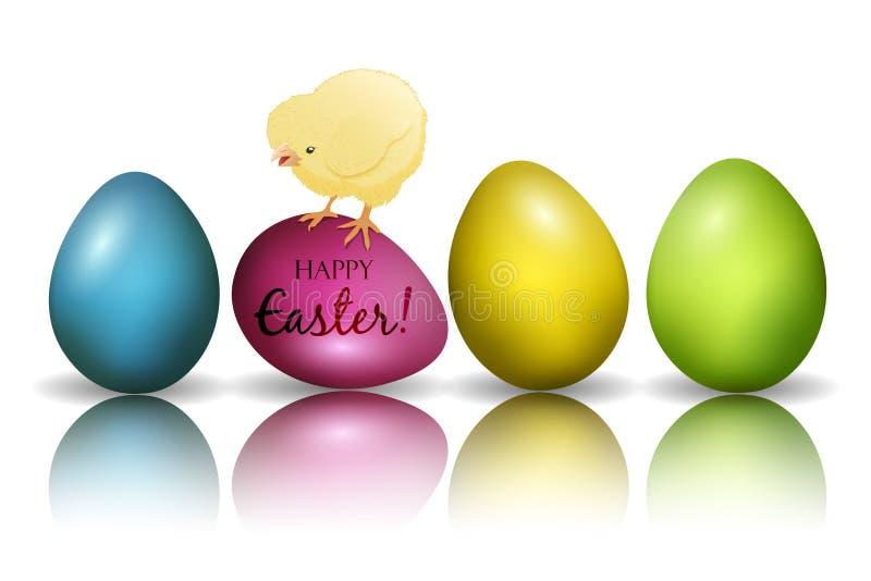 愉快的复活节 剪贴美术用鸡蛋和鸡 向量 向量例证