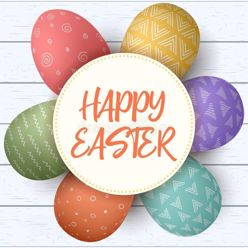 愉快的复活节 在圈子的欢乐复活节彩蛋在破旧的木背景 与土气装饰品的五颜六色的鸡蛋 库存例证