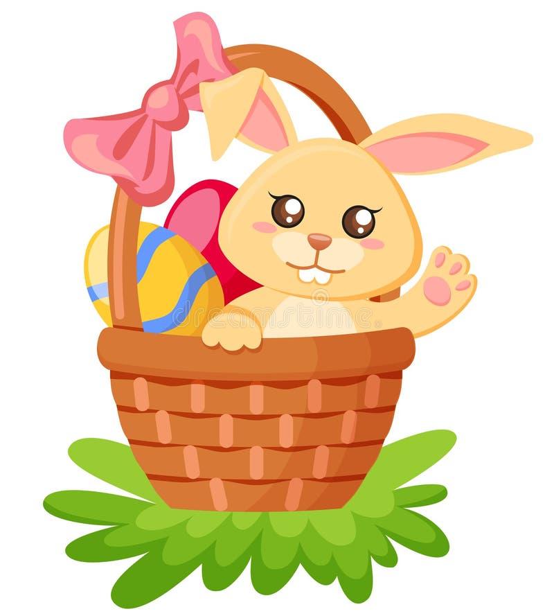愉快的复活节 坐在篮子的逗人喜爱的兔宝宝用鸡蛋 库存例证