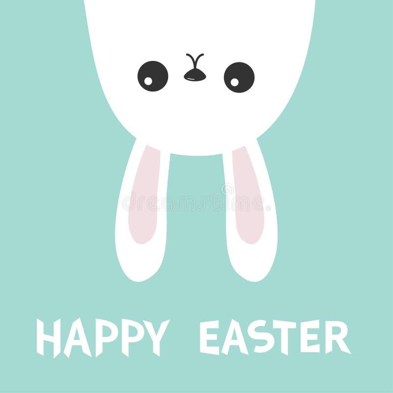 愉快的复活节 垂悬白色兔宝宝野兔的兔子颠倒 Picaboo 平的设计 滑稽的顶头面孔 逗人喜爱的kawaii漫画人物 B 皇族释放例证